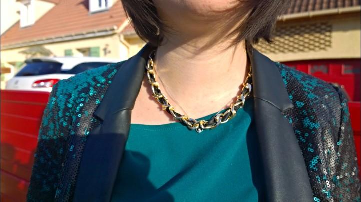 tenue de fête veste paillette et collier DIY